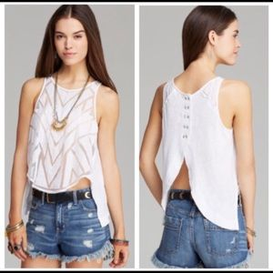 Free People Ethereal Daze Ginger Cutout Boho Top